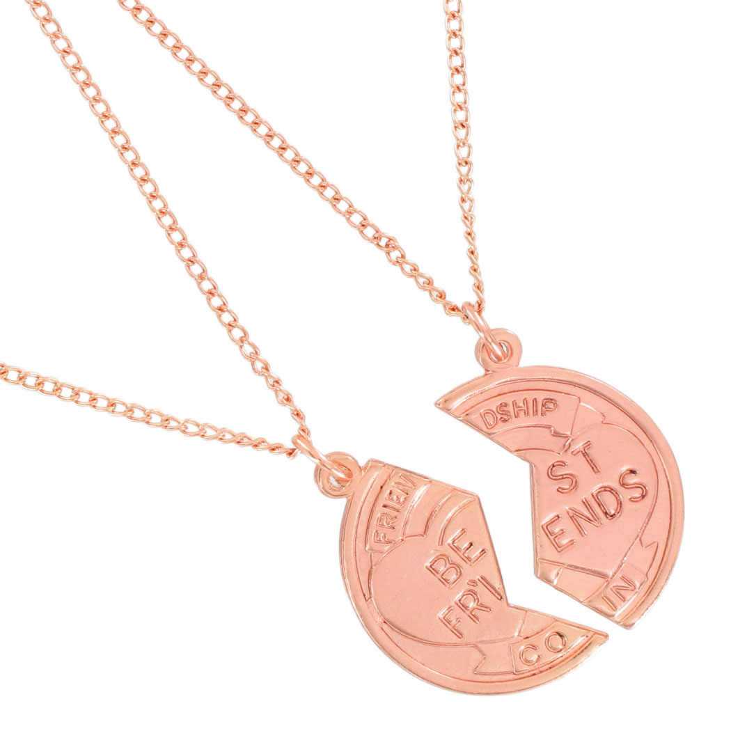 Ky & Co Pendant Bff Necklace Set Broken Coin Best Friends Rose Gold Tone Thumbnail 2