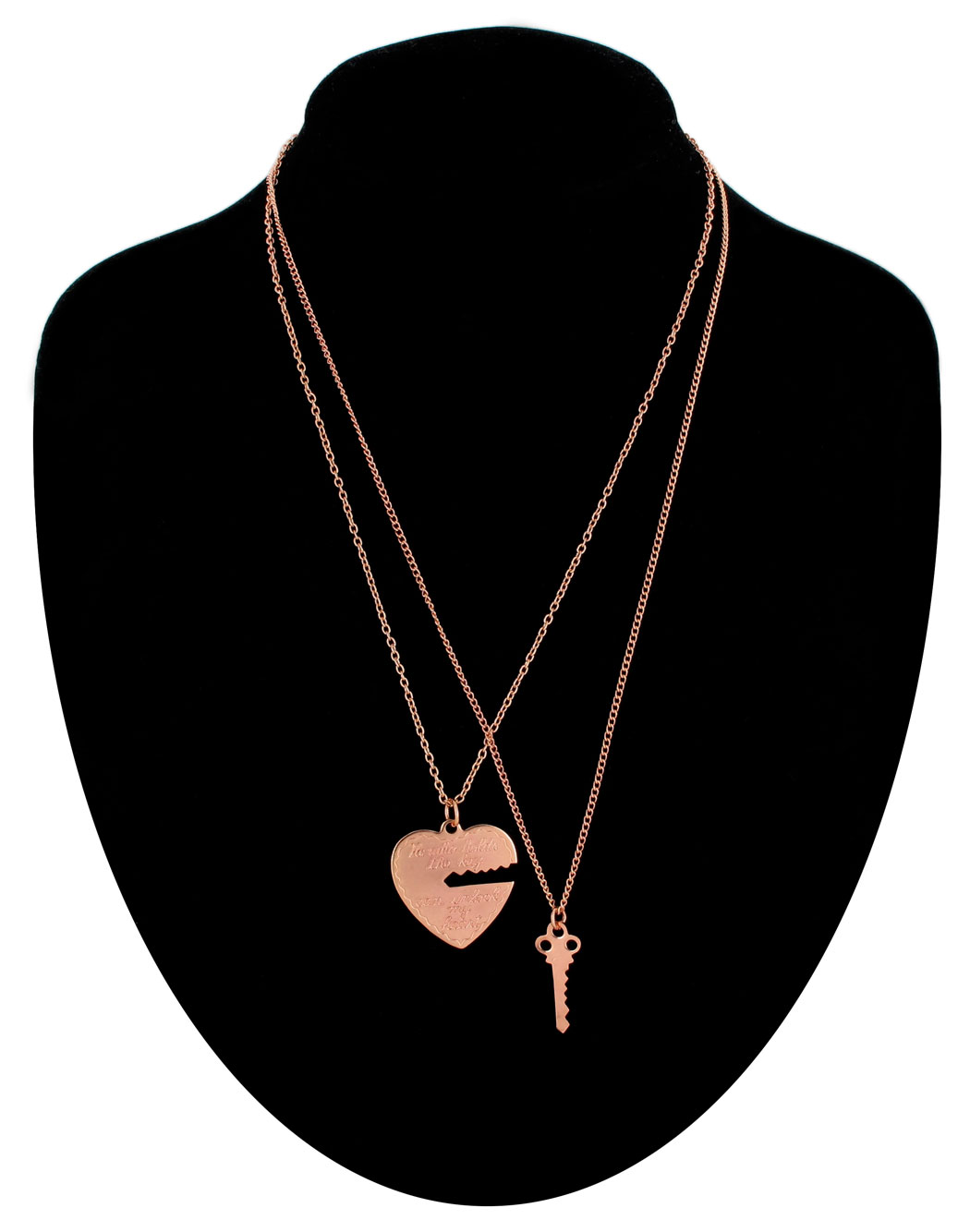 Ky & Co Pendant Necklace Set Key To My Heart Sweetheart Couples Rose Gold Tone USA Made Thumbnail 1