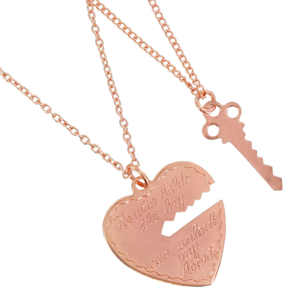 Ky & Co Pendant Necklace Set Key To My Heart Sweetheart Couples Rose Gold Tone USA Made Thumbnail 2