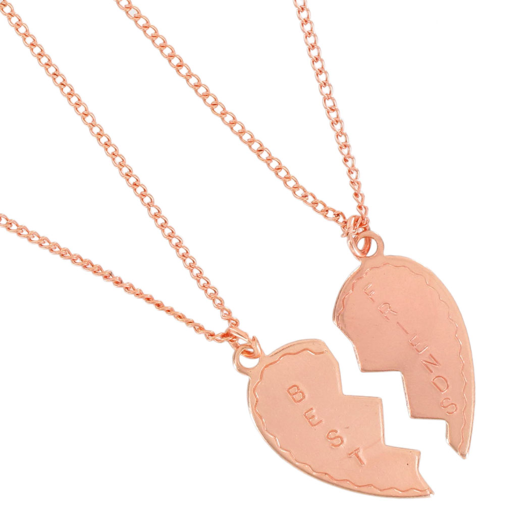 Ky & Co Necklace Bff Set Best Friends Broken Heart Rose Gold Tone Friendship USA Thumbnail 2