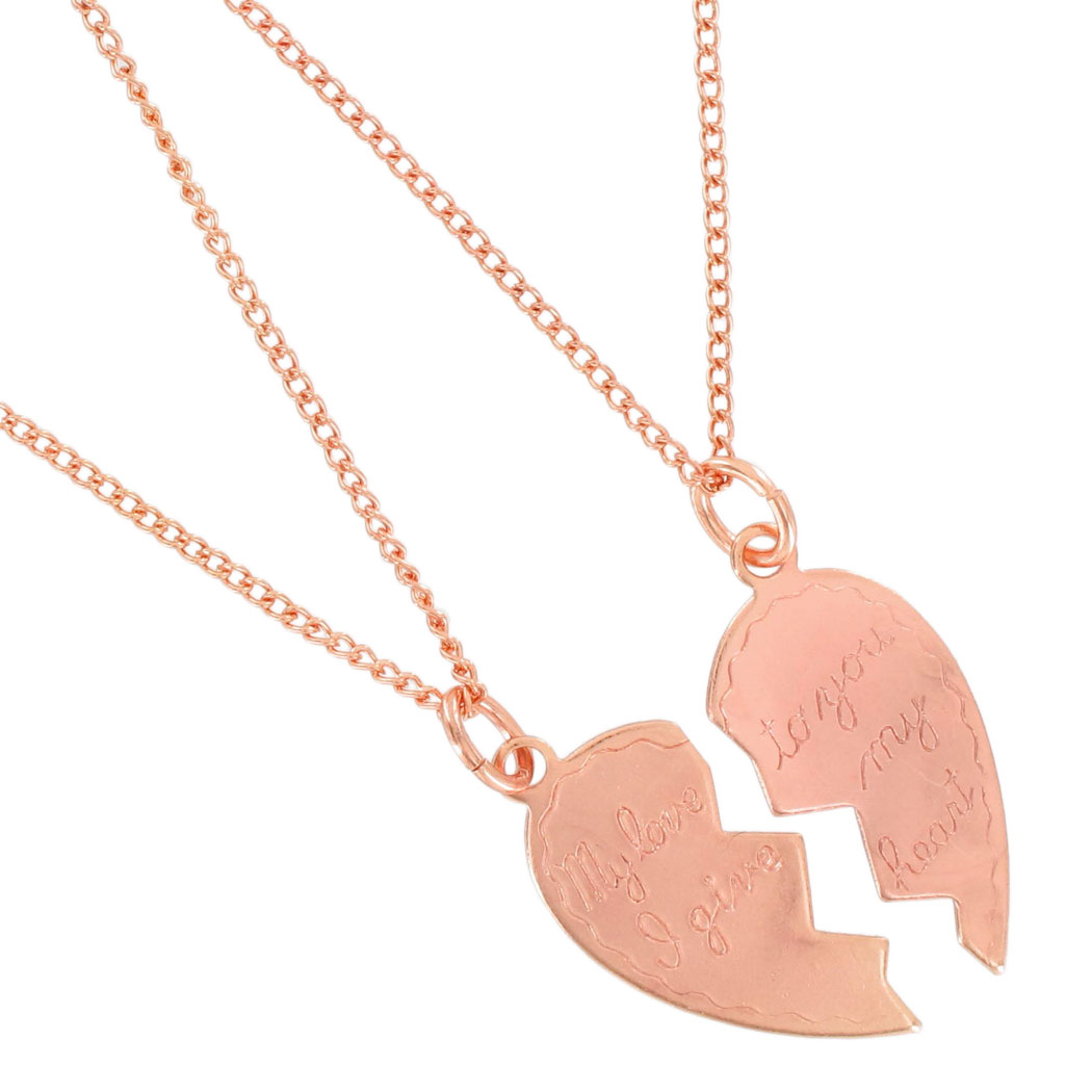 "Necklace Couples Sweetheart ""My Love"" Heart 2 Piece Rose Gold Tone Thumbnail 2"