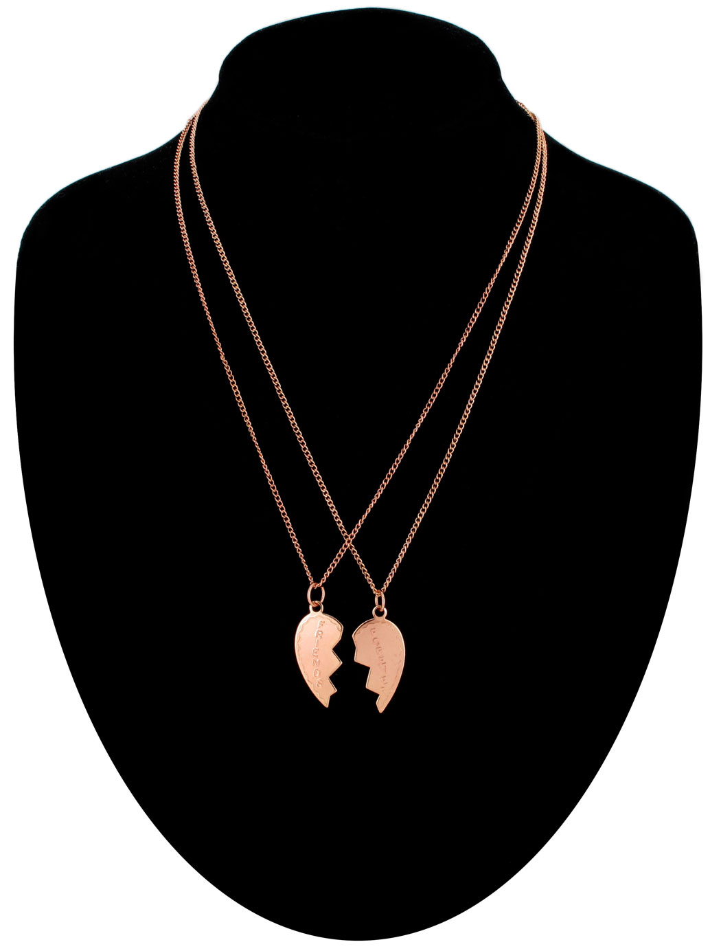 Ky & Co Necklace Bff Set Friends Forever Rose Gold Tone Broken Heart