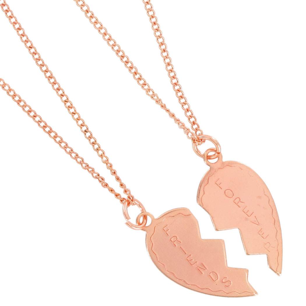 Ky & Co Necklace Bff Set Friends Forever Rose Gold Tone Broken Heart Thumbnail 2