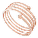 Ky & Co Rose Gold Tone Bangle Bracelet Quad Spiral Square Tube Etched Design