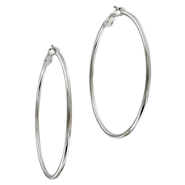 Ky & Co Large Silver Tone Pierced Hoop Earrings USA Made 2 3/8""