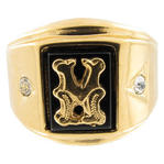 "Mens Signet Ring Black Onyx Gold GE Initial  ""M"" Sz 9"