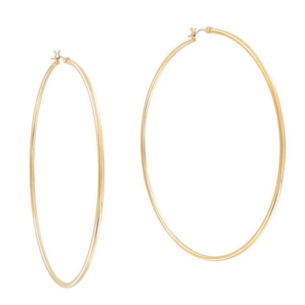 "Ky & Co Large Yellow Gold Tone Hoop Earrings Oversized 3 5/8"" USA Made"