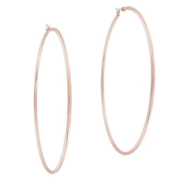 "Ky & Co Pierced Earrings Hoop Rose Gold Tone Plain Round Oversized 3 1/4"" USA"
