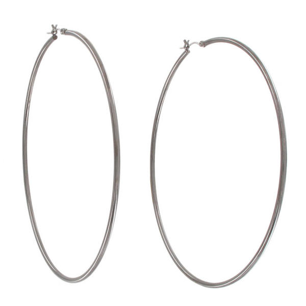 "Ky & Co Large Gun Metal Tone Pierced Hoop Earrings Oversized 3 5/8"" USA Made"