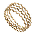 Ky & Co Bangle Bracelet Set 4 Yellow Gold Tone Thin USA Zig Zag Regular Size Thumbnail 1