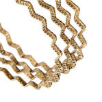 Ky & Co Bangle Bracelet Set 4 Yellow Gold Tone Thin USA Zig Zag Regular Size Thumbnail 2