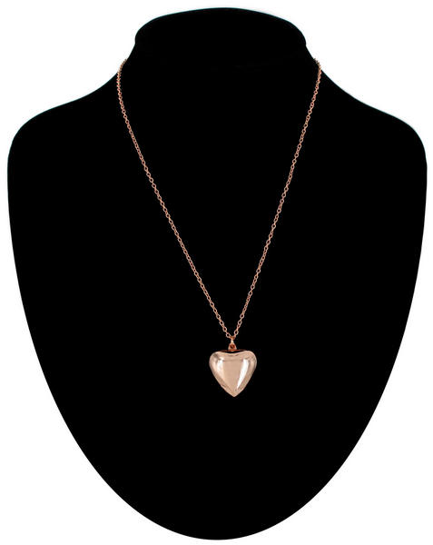 "Ky & Co Necklace Rose Gold Tone Plain Puffy Heart 18"" Chain Made In USA"