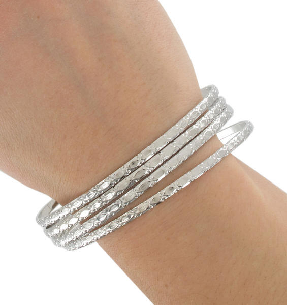 Ky & Co Bracelet Set 4 Silver Tone Thin Bangle Xl Large USA Beaumont