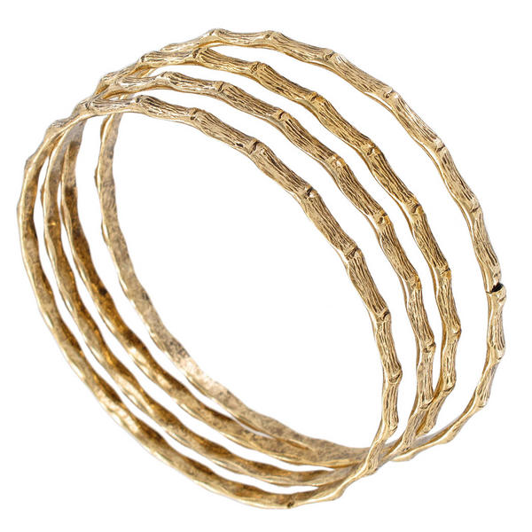 Ky & Co Bangle Bracelet Set 4 Yellow Gold Tone Thin Made In USA Bamboo Regular