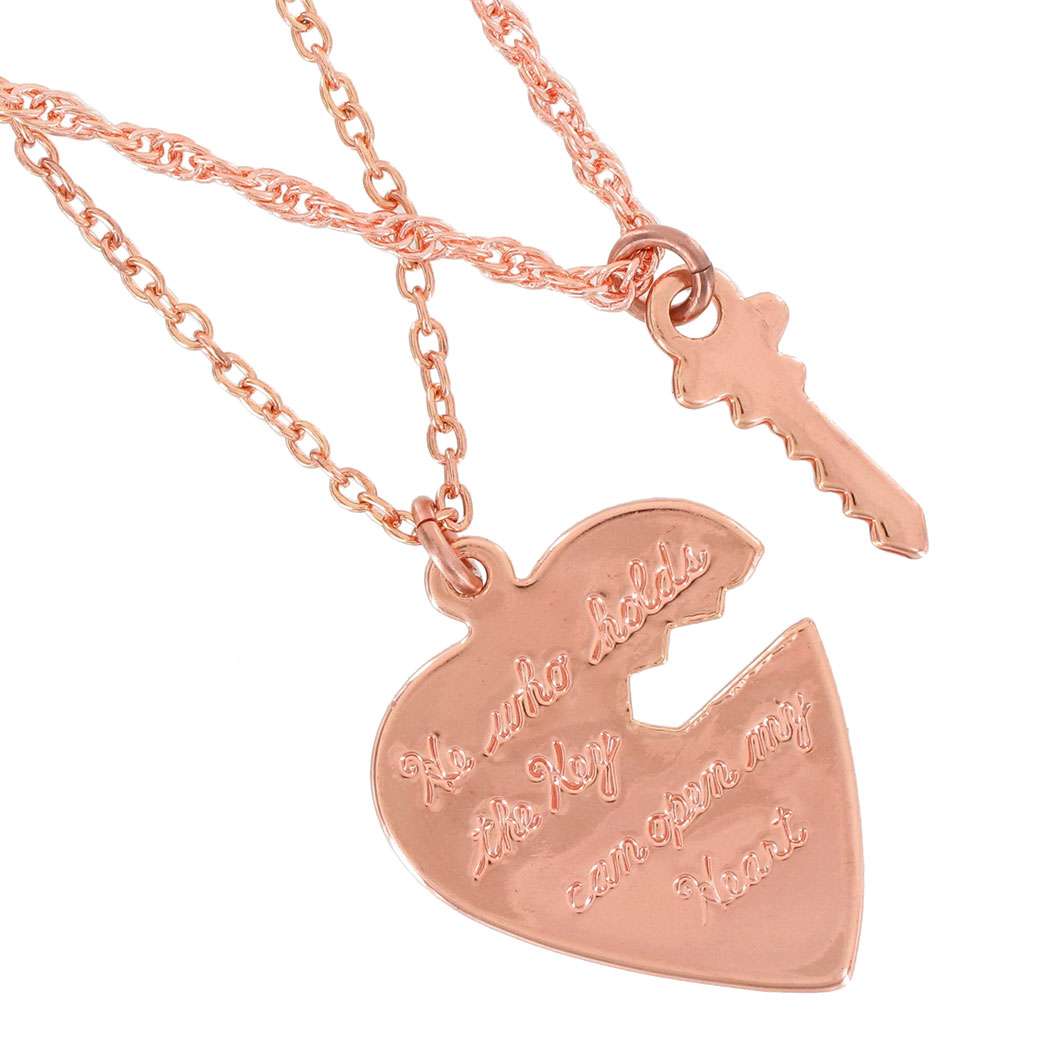 Ky & Co Pendant Key To My Heart Sweetheart Necklace Small Couples Rose Gold Tone Thumbnail 2