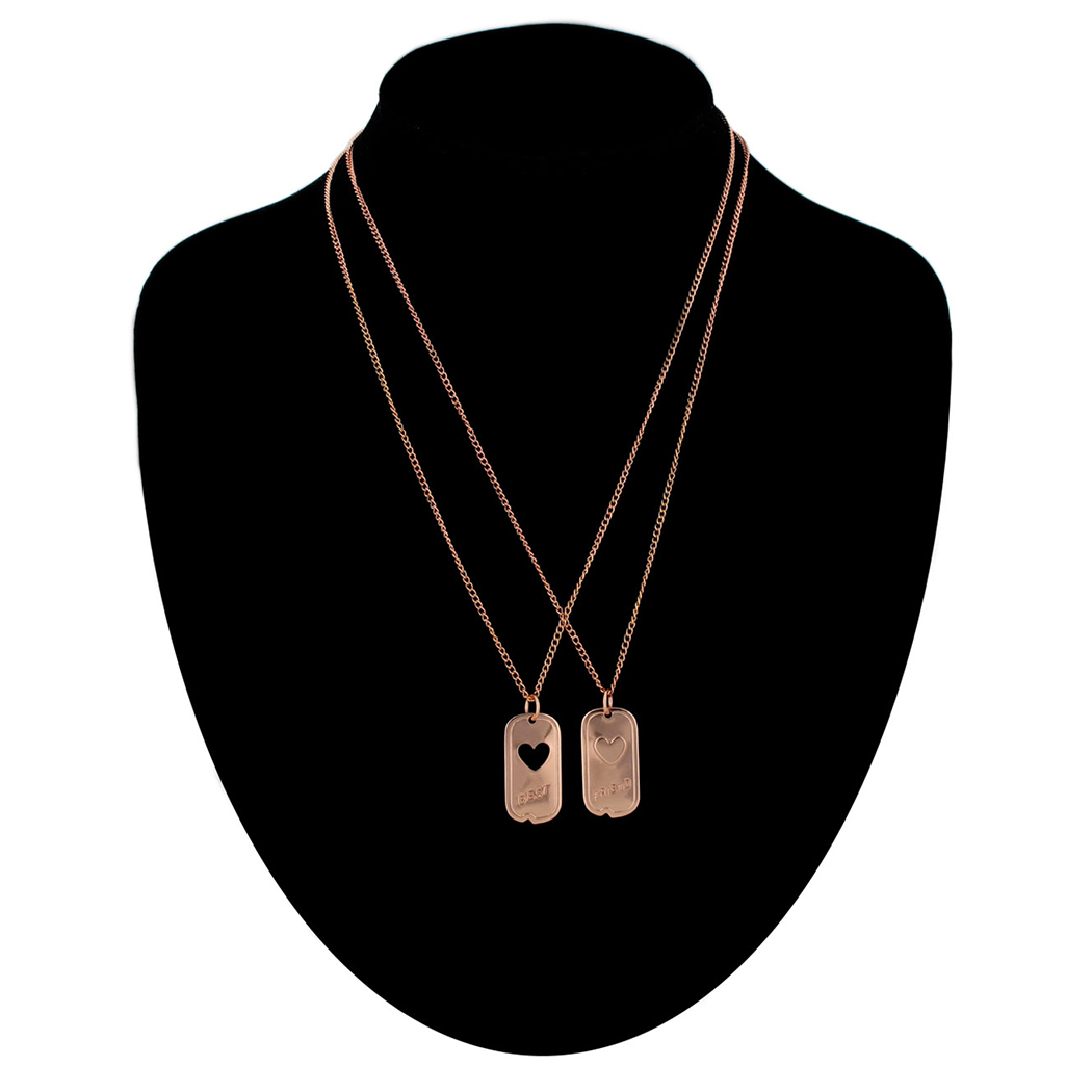 Ky & Co Bff Pendant Necklace Set Dog Tag Military Heart Best Friends Rose Gold Tone