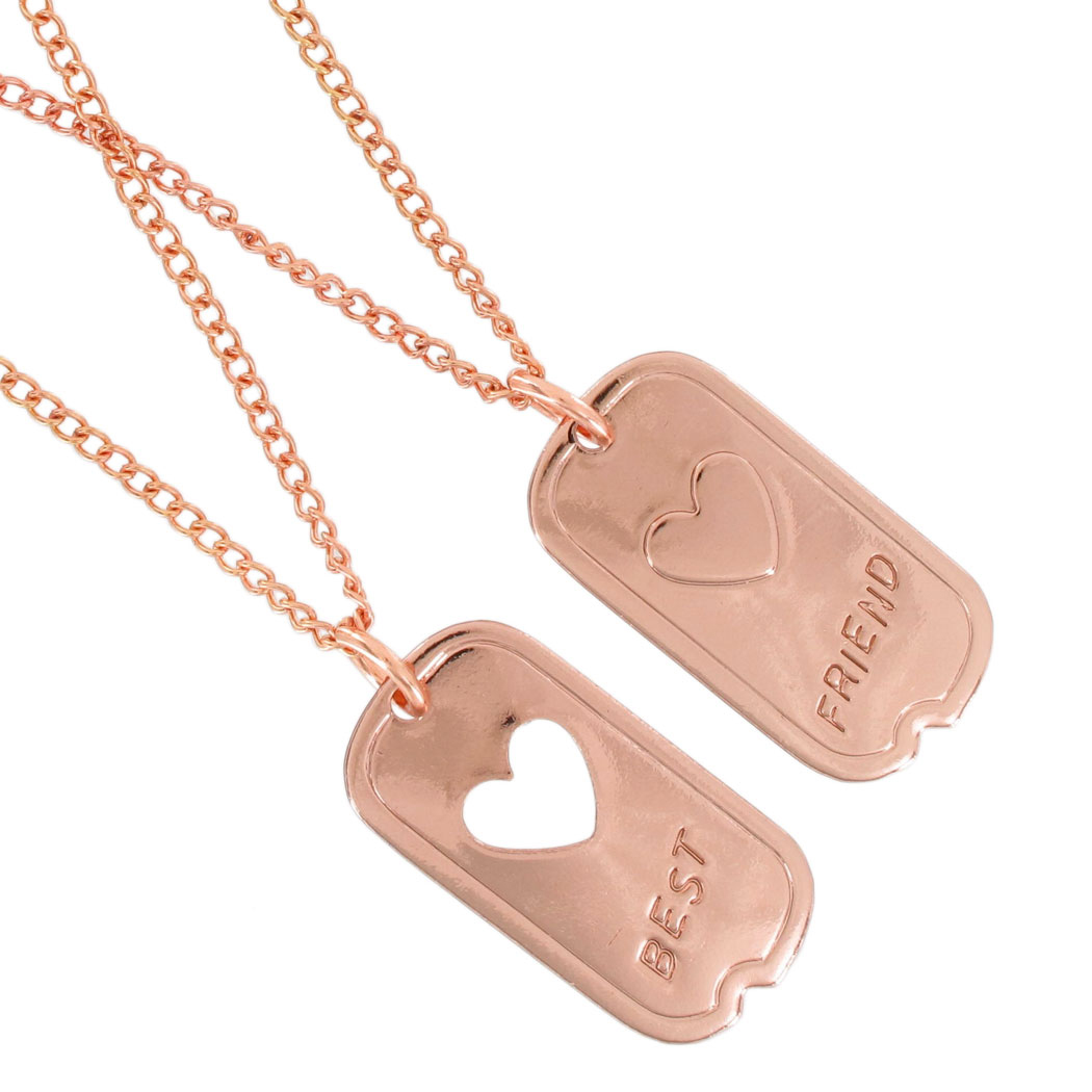 Ky & Co Bff Pendant Necklace Set Dog Tag Military Heart Best Friends Rose Gold Tone Thumbnail 2