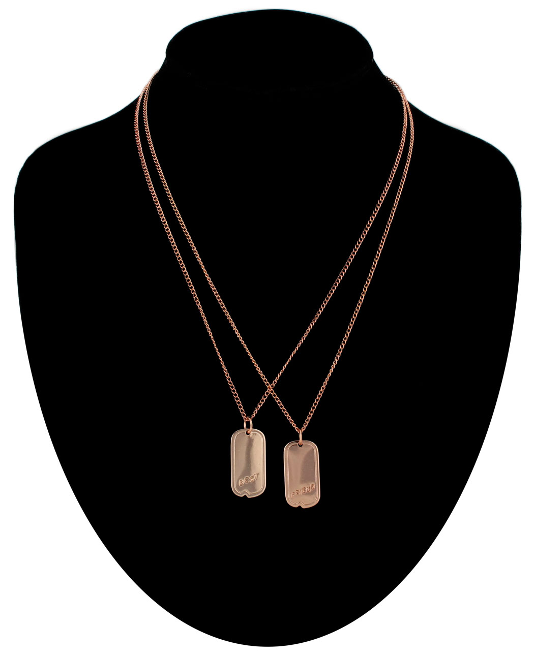 Ky & Co Pendant Bff Necklace Set Friendship Dog Tag Best Friends Rose Gold Tone
