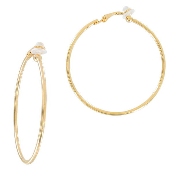 Ky & Co Yellow Gold Tone Clip On Hoop Earrings USA Made 2""
