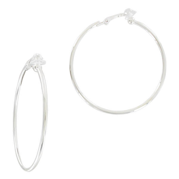 "Ky & Co Silver Tone Clip On Hoop Earrings 2"" USA Made"