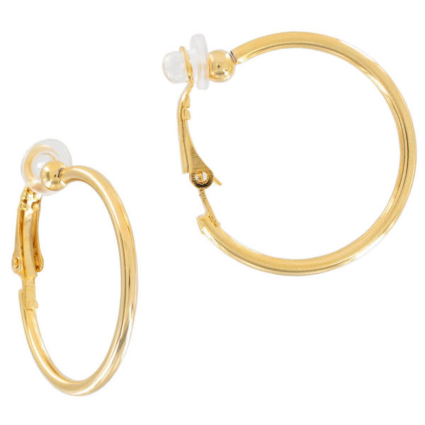 Ky & Co Yellow Gold Tone Clip On Hoop Earrings USA Made 1""