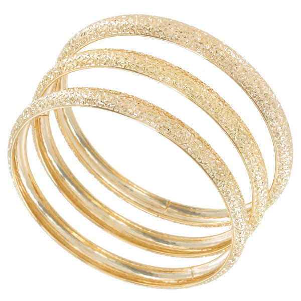 Ky & Co Bangles Bracelet Gold Tone Set Of 3 Textured Sparkle Made In USA