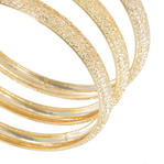 Ky & Co Bangles Bracelet Gold Tone Set Of 3 Textured Sparkle Made In USA Thumbnail 2