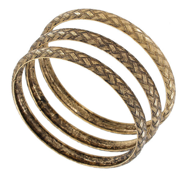 Ky & Co Set Of 3 Bracelets Antiqued Gold Tone Basket Weave Design