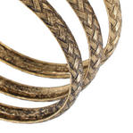 Ky & Co Set Of 3 Bracelets Antiqued Gold Tone Basket Weave Design Thumbnail 2