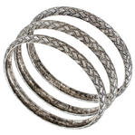 Ky & Co Set Of 3 Bracelets Antiqued Silver Tone Basket Weave Design Thumbnail 1