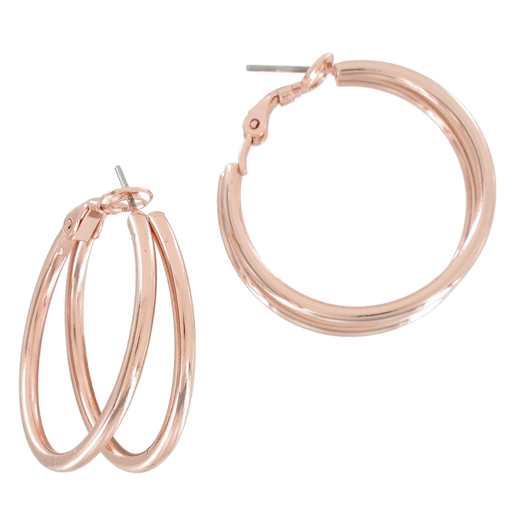"Ky & Co Rose Gold Tone Double Hoop Pierced Earrings 1 1/8"" USA Made"