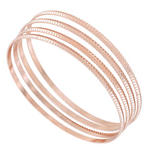 Ky & Co  Set 4 XL Bangle Bracelet Rose Gold Tone Sussex Metal Thin USA Thumbnail 1