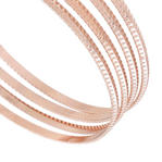 Ky & Co  Set 4 XL Bangle Bracelet Rose Gold Tone Sussex Metal Thin USA Thumbnail 2