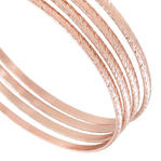 Ky & Co Bangle Bracelet Set 4 Rose Gold Tone Thin Xl Large Made In USA Kent Thumbnail 4