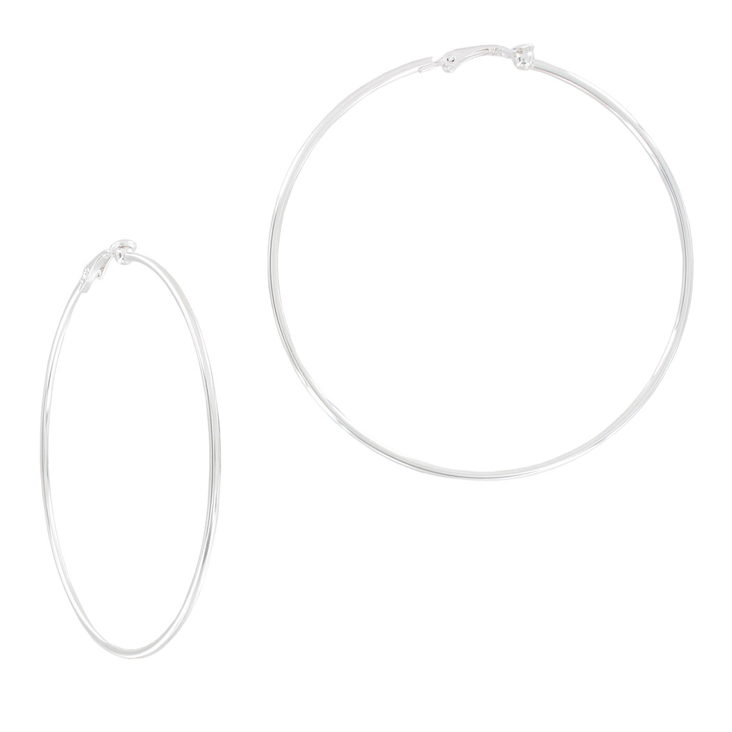 "Ky & Co Large Silver Tone Plain Wire Clip On Hoop Earrings USA Made 3"" Thumbnail 1"