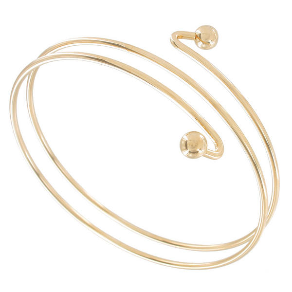 Ky & Co Armlet Gold Tone Upper Arm Cuff Band Bracelet Double Ball End USA Made