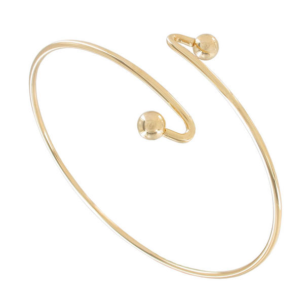 Ky & Co Armlet Gold Tone Upper Arm Cuff Band Bracelet Single Ball End USA Made