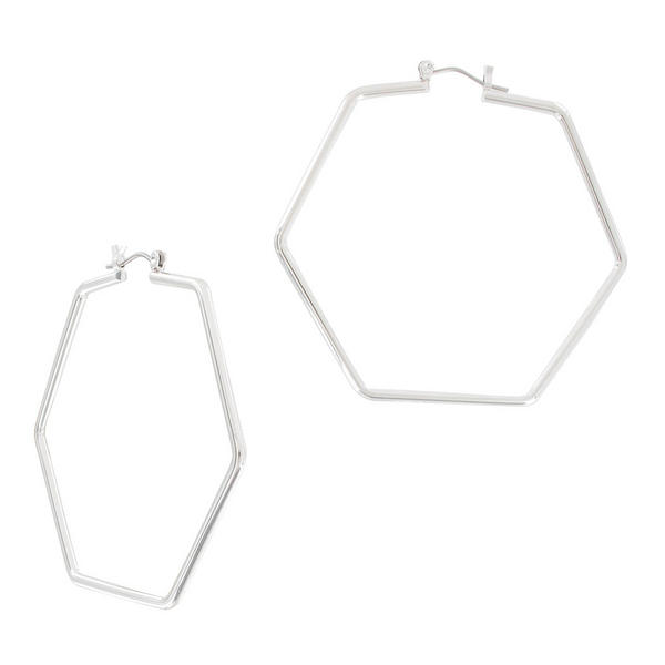 Ky & Co Silver Tone Hexagon Geometric Pierced Hoop Earrings USA Made 2 1/4""