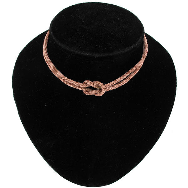 Ky & Co Rose Gold Tone Mesh Knot 2 Strand Choker Necklace Dog Collar Style