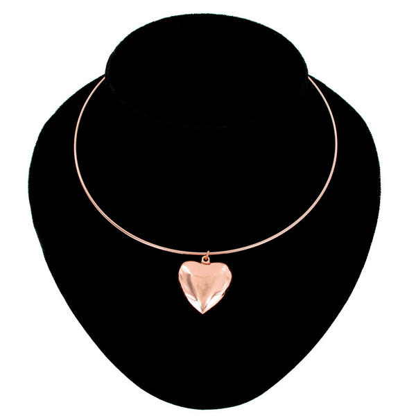 Ky & Co Collar Necklace Rose Gold Tone Plain Puffy Heart Made In USA