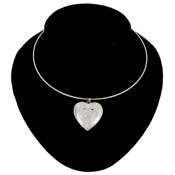 Ky & Co Pendant Locket Collar Necklace Silver Tone Rose Heart Photo Metal