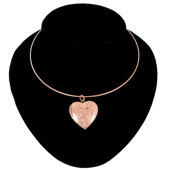 Ky & Co Rose Gold Tone Flower Heart Photo Locket Pendant Collar Necklace Made USA