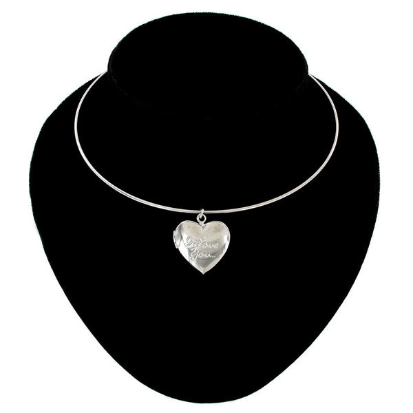 Ky & Co Collar Necklace Silver Tone Heart Locket Pendant Small I Love You USA