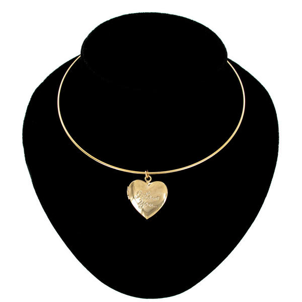 Ky & Co Collar Necklace Gold Tone Heart Locket Pendant Small I Love You USA