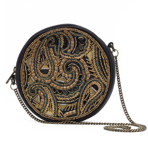 WCM Black Genuine Leather Bronze Hand Beaded Round Shoulder Bag