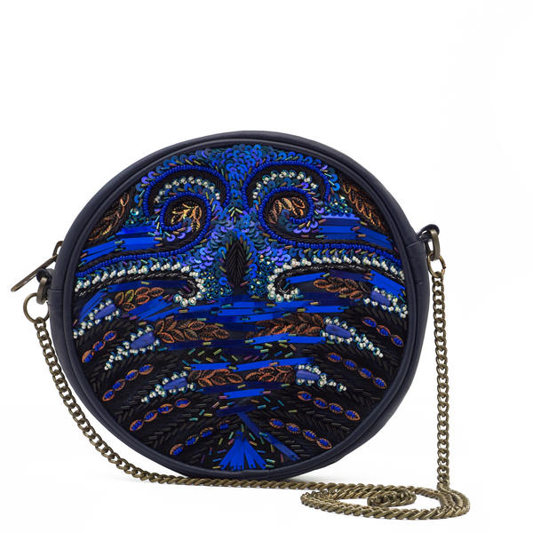 WCM Blue Genuine Leather Hand Beaded Peacock Design Round Shoulder Bag