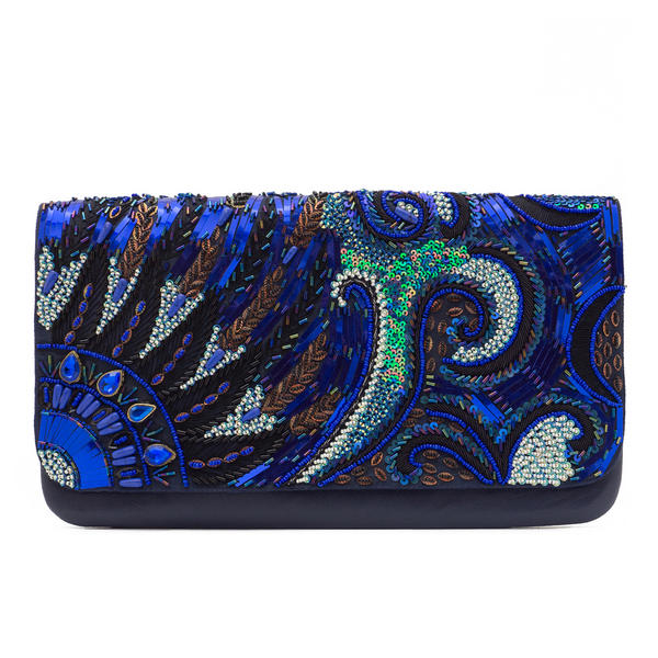 WCM Blue Genuine Leather Hand Beaded Peacock Design Crossbody Purse Bag Handbag