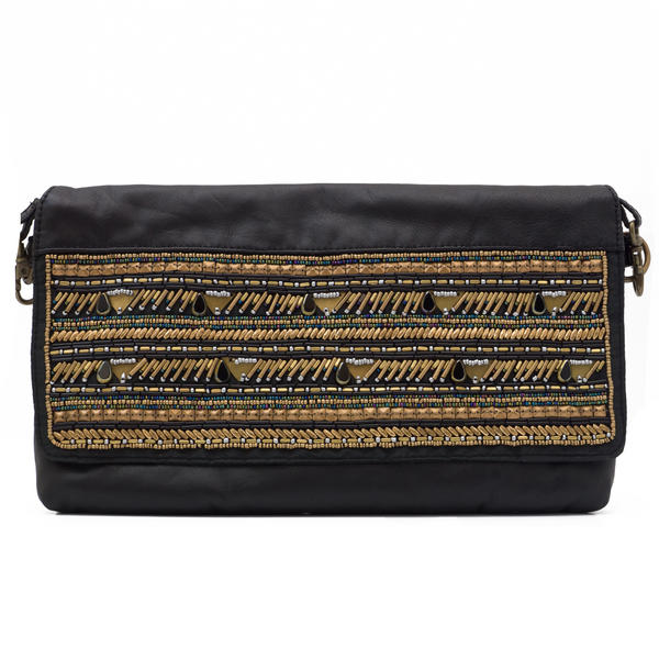 WCM Black Genuine Leather Hand Beaded Bronze Stripe Tribal Crossbody Bag