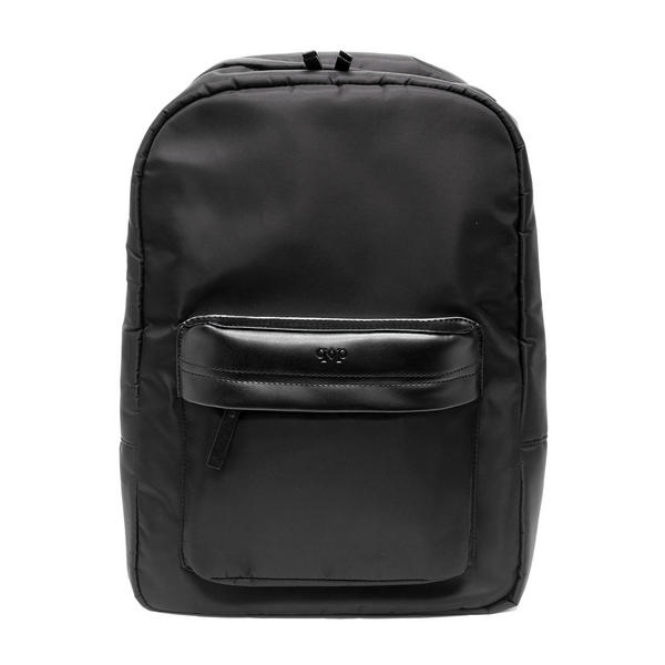 Prospect Park Men's Backpack Black Bag Nylon Genuine Leather Trim Travel Casual