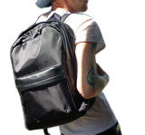 Prospect Park Men's Backpack Black Bag Nylon Genuine Leather Trim Travel Casual Thumbnail 6